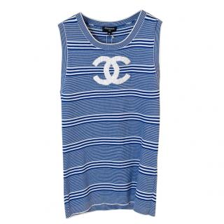 Chanel Blue & White Knit Resort Collection Vest