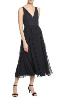 Vera Wang navy ruched chiffon dress
