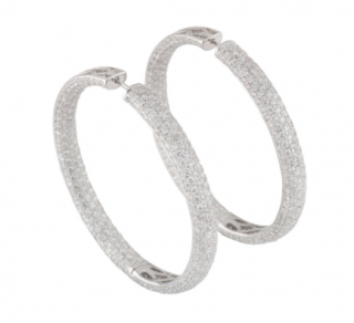 Bespoke White Gold Diamond Hoop Earrings