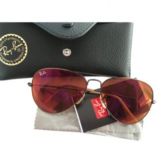 Ray Ban Red Aviator Sunglasses