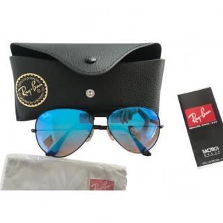 Ray Ban Blue Mirrored Aviator Sunglasses
