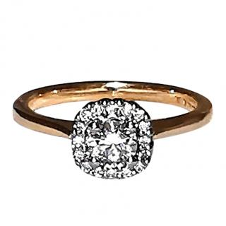 Cred diamond and rose gold halo ring