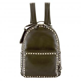 Valentino dark olive green rockstar backpack