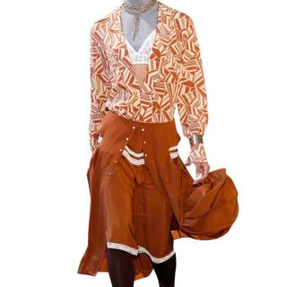 Chloe orange and grey bohemian blouse