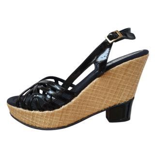 Fendi Black Patent Leather Raffia Wedge Sandals