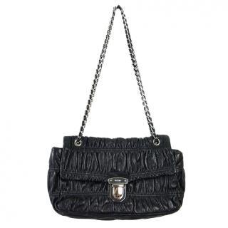 Prada Ruched Black Leather Shoulder Bag