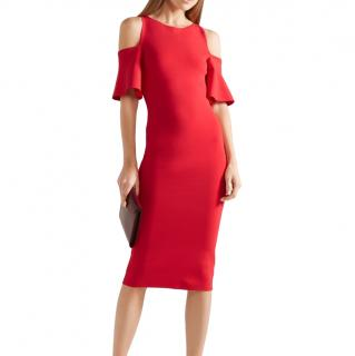 Michael Kors Red Stretch Knit Cold Shoulder Dress