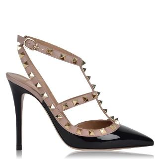 Valentino Black Patent Leather Rockstud Sandals