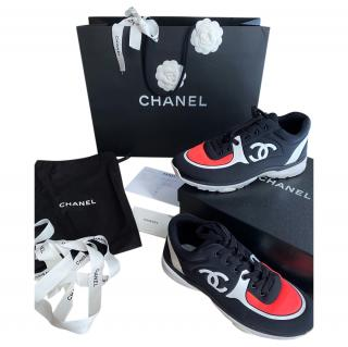 Chanel Black & Red CC Sneakers