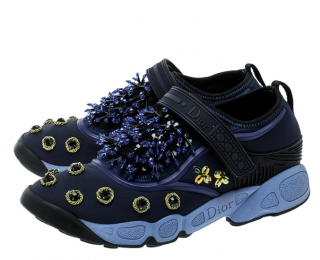 Dior Blue Crystal & Sequin Embellished Fusion Strap Sneakers