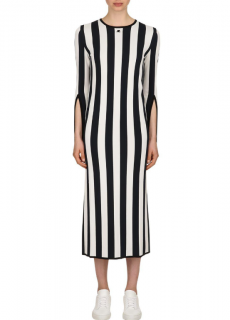 Courreges Blue Striped Viscose Knit Long Sleeved Dress