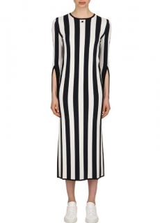 Courreges Blue Striped Viscose Knit Long Sleeved Dress