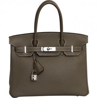 Hermes Etoupe Togo Leather Birkin 30 PHW