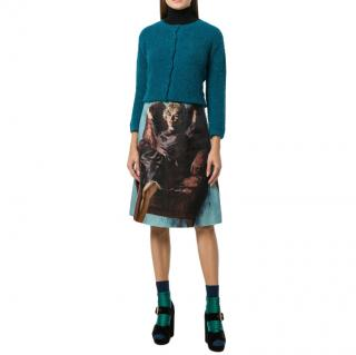 Prada Blue A-Line Pin Up Skirt