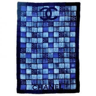 Chanel Blue Shipping Container Print Silk Scarf