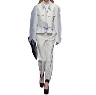 Celine Ivory Jacquard Tailored Pants