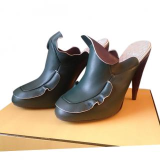 Fendi Ruffled Leather Mules
