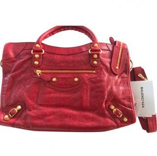 Balenciaga Red & Gold Medium City Bag