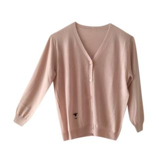 Dior Pink Silk & Cashmere Fine Knit Cardigan