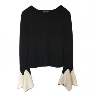 Alexander McQueen Bell Sleeve Contrast Knit Jumper