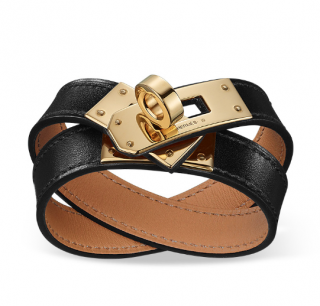 Hermes Black Swift Leather Kelly Double Tour Bracelet