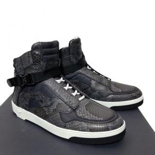 Louis Vuitton grey python leather high top sneakers