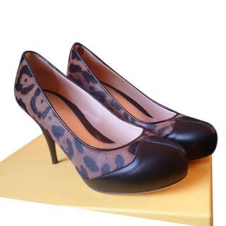 Fendi Calf Hair & Leather Leopard Print Pumps