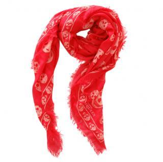 Alexander McQueen Red & White Silk Blend Skull Scarf