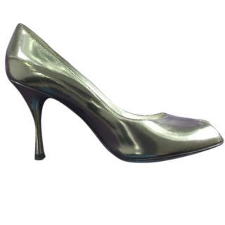Dolce & Gabbana Mirrored Open Toe Pumps