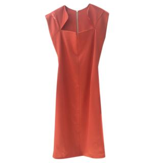 Safiyaa Orange Zip-Back Fitted Dress
