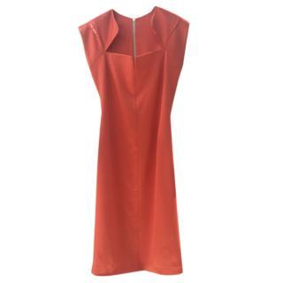 Safiyaa Orange Zip-Back Fitted Dress