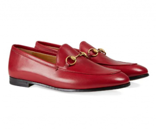 Gucci Red Leather Jordaan Loafers