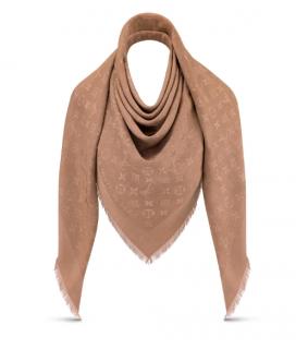 Louis Vuitton Monogram Cappuccino Silk & Wool Shawl