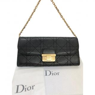 Dior Black Cannage Wallet On Chain