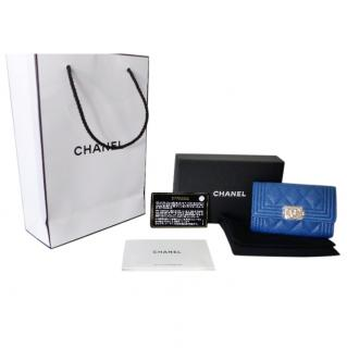Chanle Blue Caviar Leather Small Boy Coin Purse