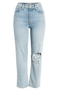 RE/DONE high rise stove pipe Livedlight wash stretch denim jeans