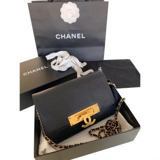 Chanel Black Lizard Golden Class Wallet On Chain