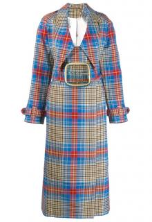 Charles Jeffrey Loverboy Wool Double-Breasted Check Trench Coat