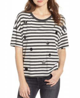 Current/Elliot Black & White Striped Spotted Roadie Top