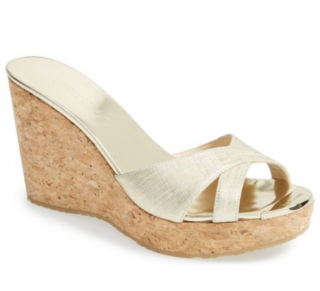 Jimmy Choo Pandora wedge sandals in champagne