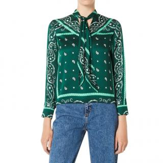 Sandro Green Scarf Print Pussy Bow Top