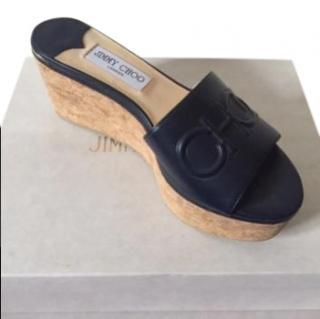 Jimmy Choo Deedee 80 Navy Wedge Sandals