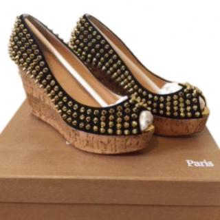 Christian Louboutin Une Plume Spiked Wedge Sandals
