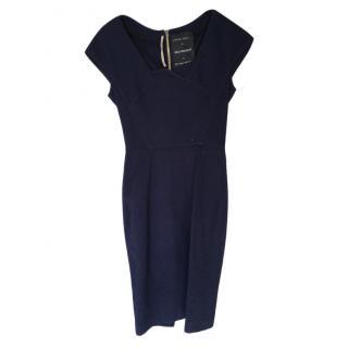 Roland Mouret for Selfridges Blue Textured Pencil Dress