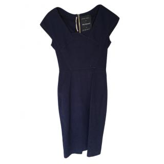 Roland Mouret for Selfridges Blue Textured Pencil Dress