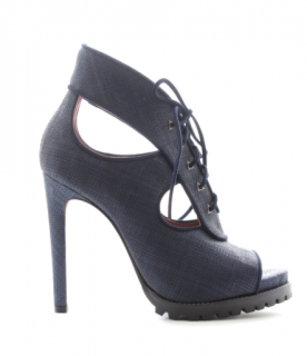Alaia Navy Cut-Out Lace-Up Platform Sandals