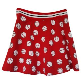 Love Moschino Cricket Ball Print Red A-Line Skirt