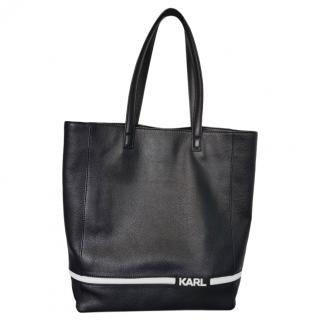 Karl Lagerfeld Black Leather Grained Tote