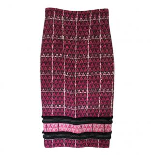 Roland Mouret Pink Tweed Midi Skirt