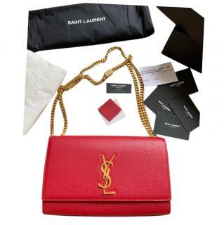Saint Laurent Red Leather Medium Kate Bag